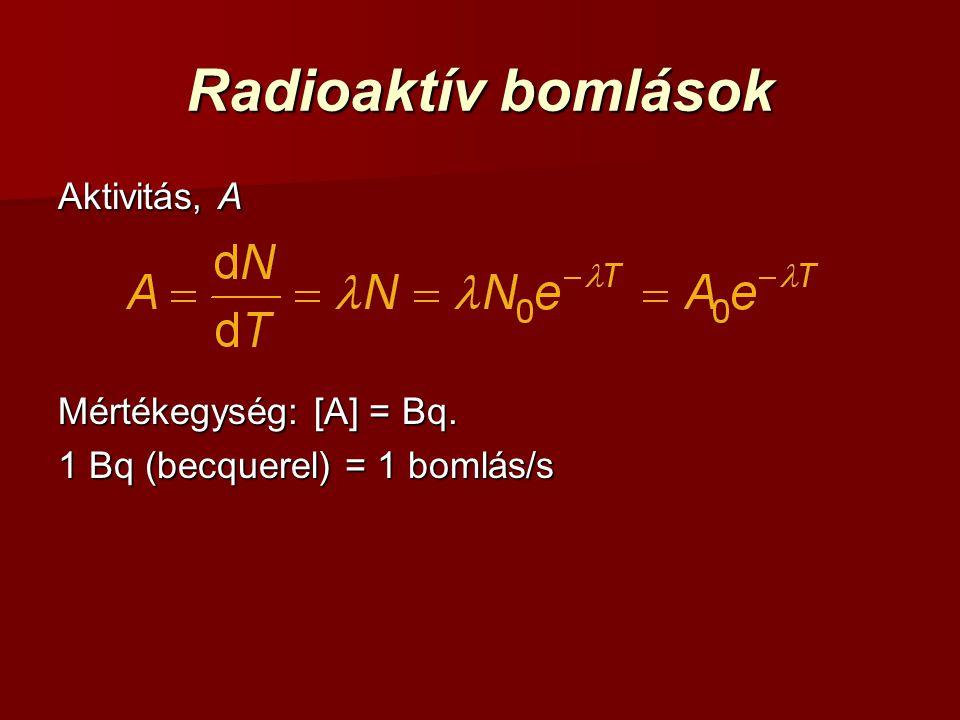Radioaktív bomlások Aktivitás, A Mértékegység: [A] = Bq.